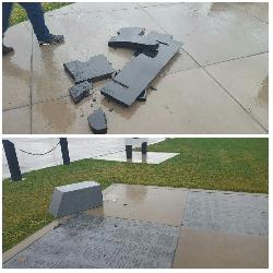 Veterans Memorial Plaza Vandalized